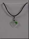 Clear & Green Heart Necklace